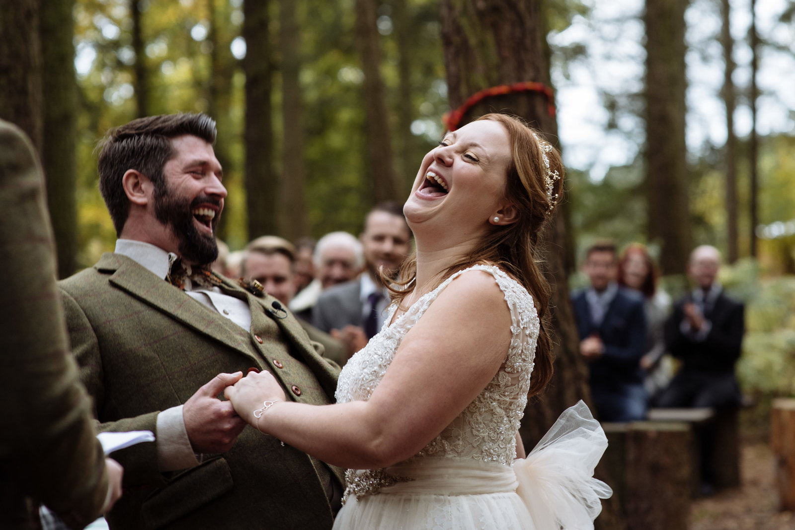 Woodland wedding ceremony at Camp Katur. yorkshire documentary wedding photographer