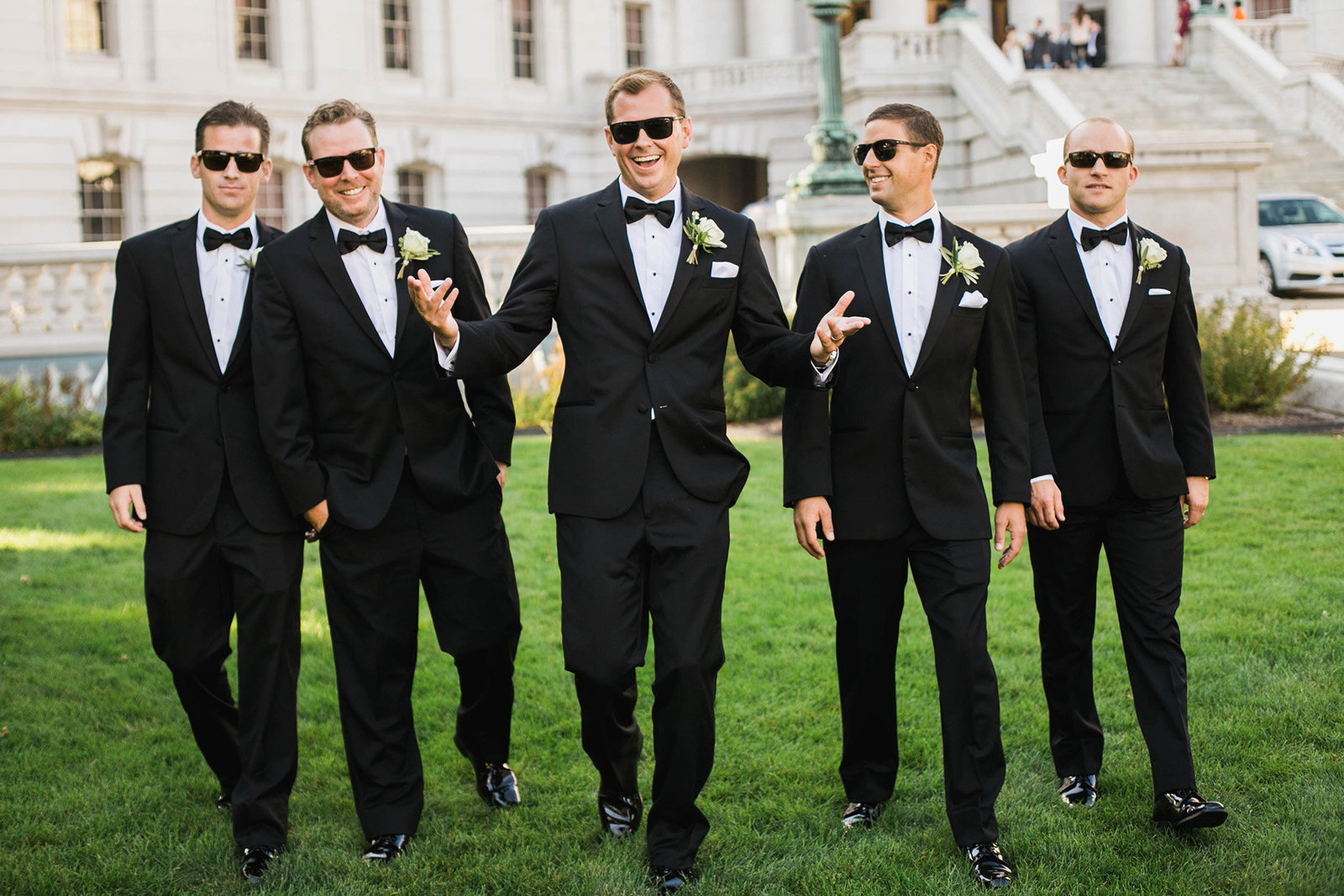 Groom with groomsmen at the Capitol