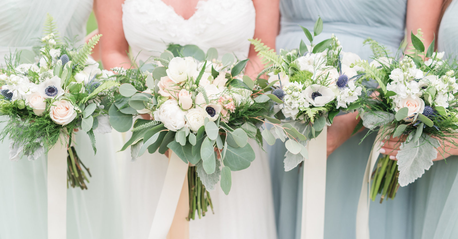 white green and blue bridesmaids dresses and bouquets hampton roads