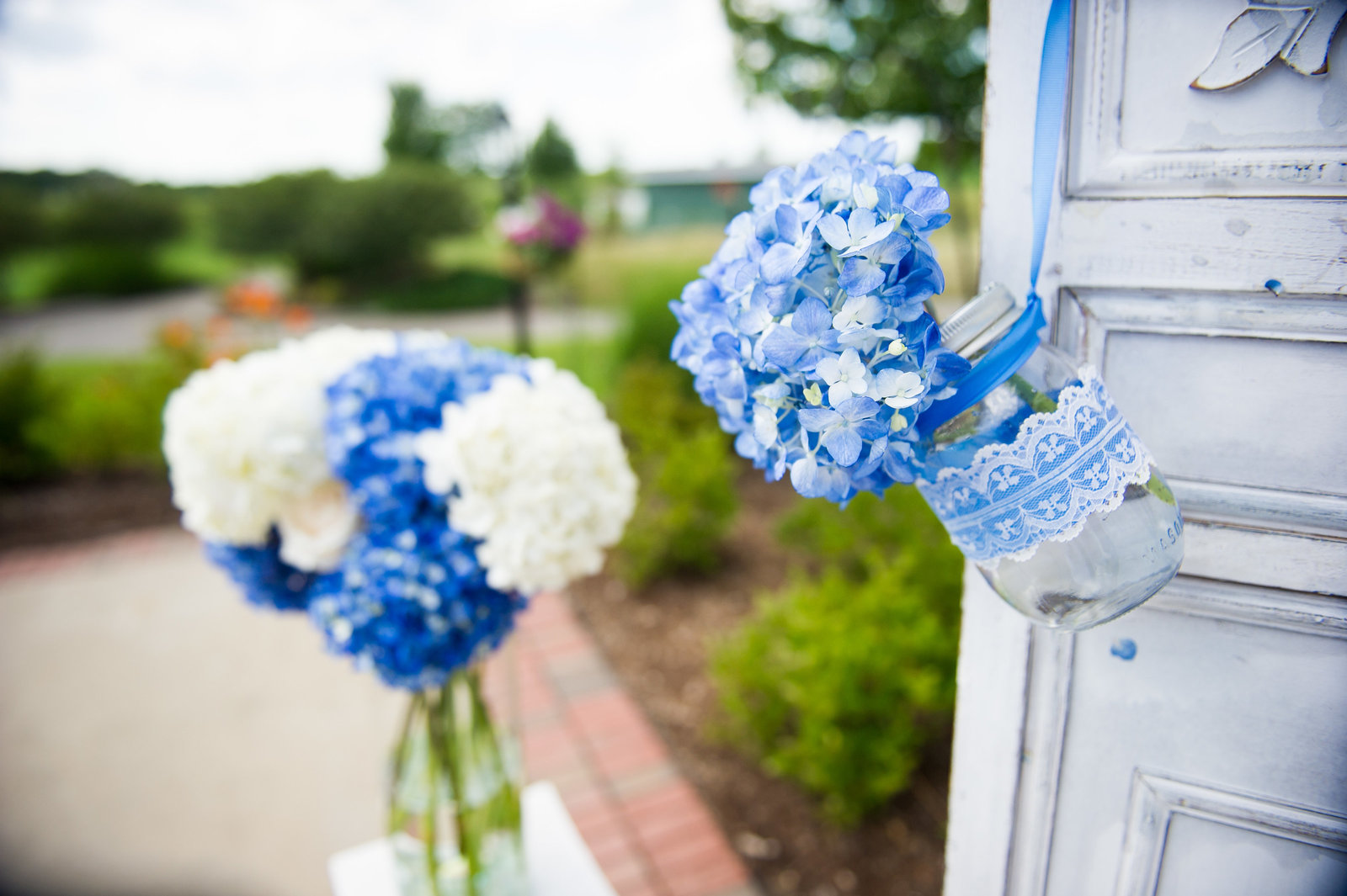 Flowers at outdoor ceremony for Chicago wedding,.