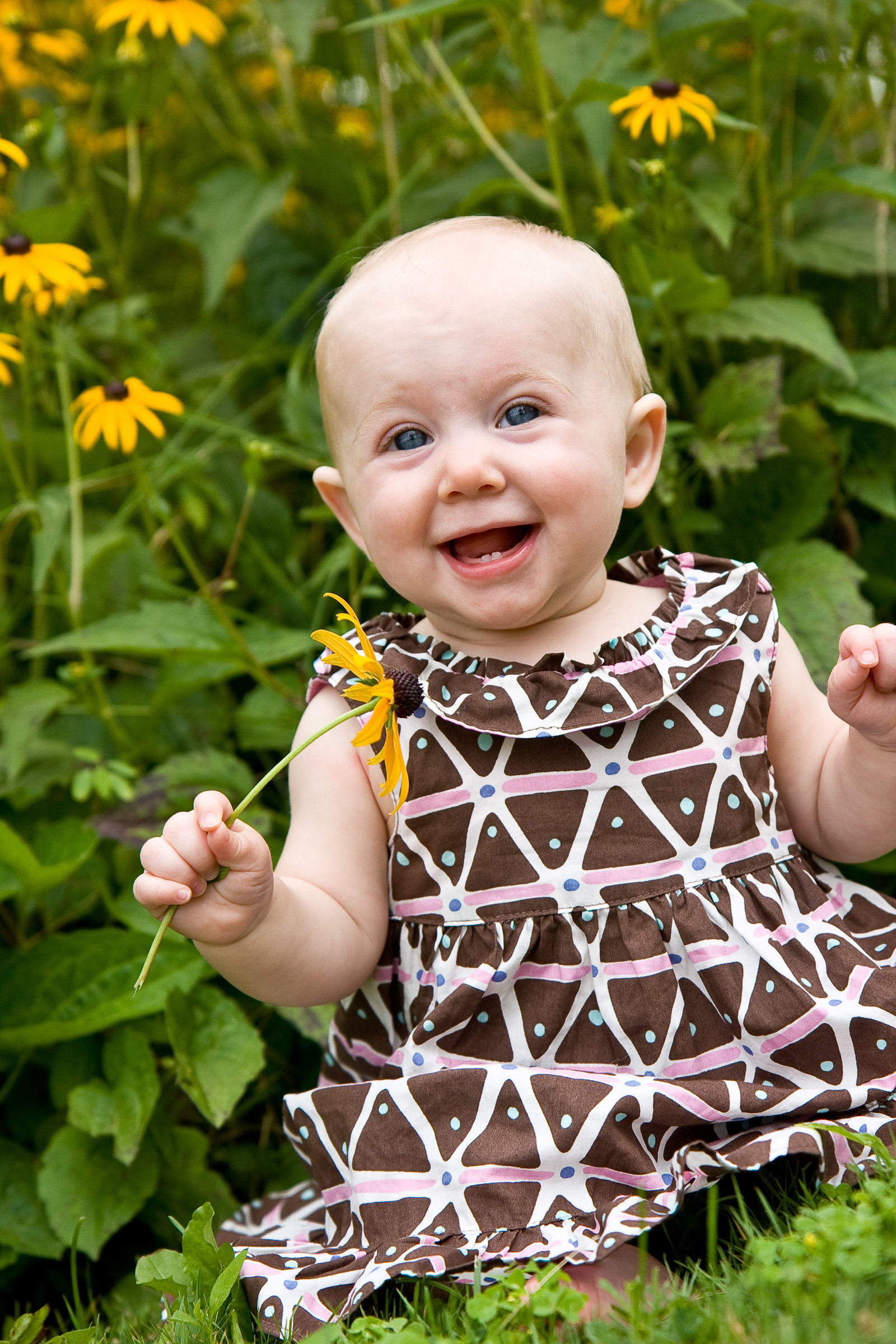Baby Portrait with flower at arboretum