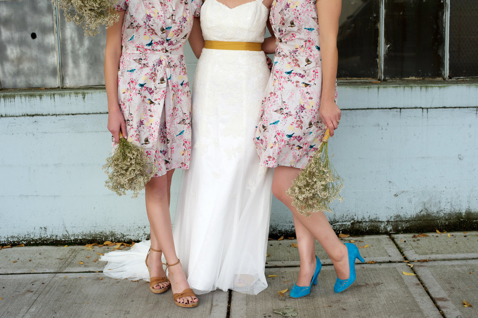 pretty floral  bridesmaids dresses and colorful shoes