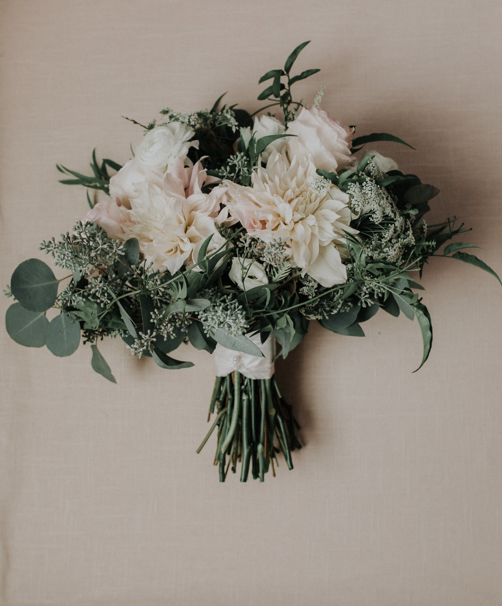 soft pink cream and green wedding bouquet