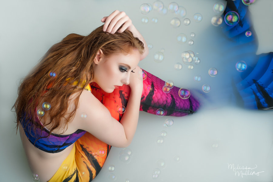 denver-cosplay-mermaid-tail-milk-bath-senior-photos-bubbles-rainbow-fantasy-creative-photography