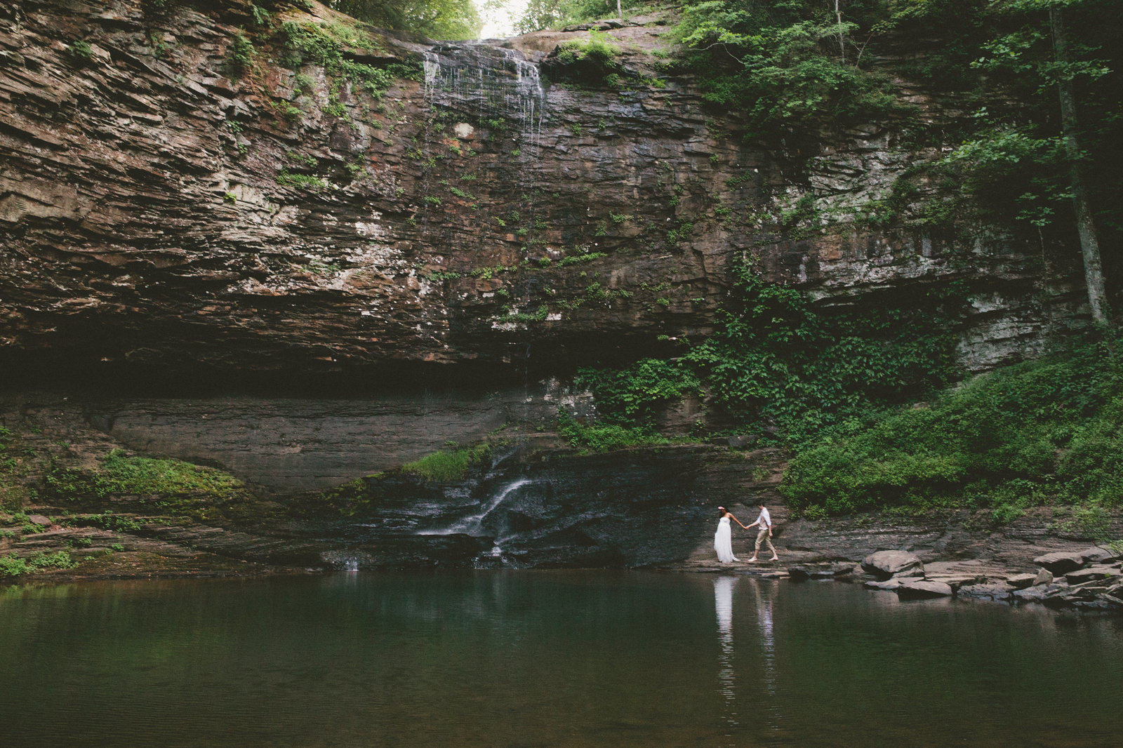 Cloudland Canyon Elopement with Interracial couple.