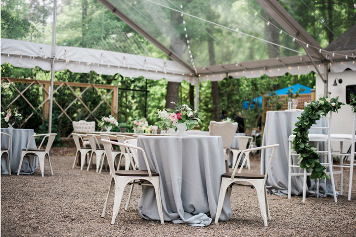 The Parlour courtyard reception, Tented courtyard, Clear top tent, Wedding venue, Chapel Hill, North Carolina