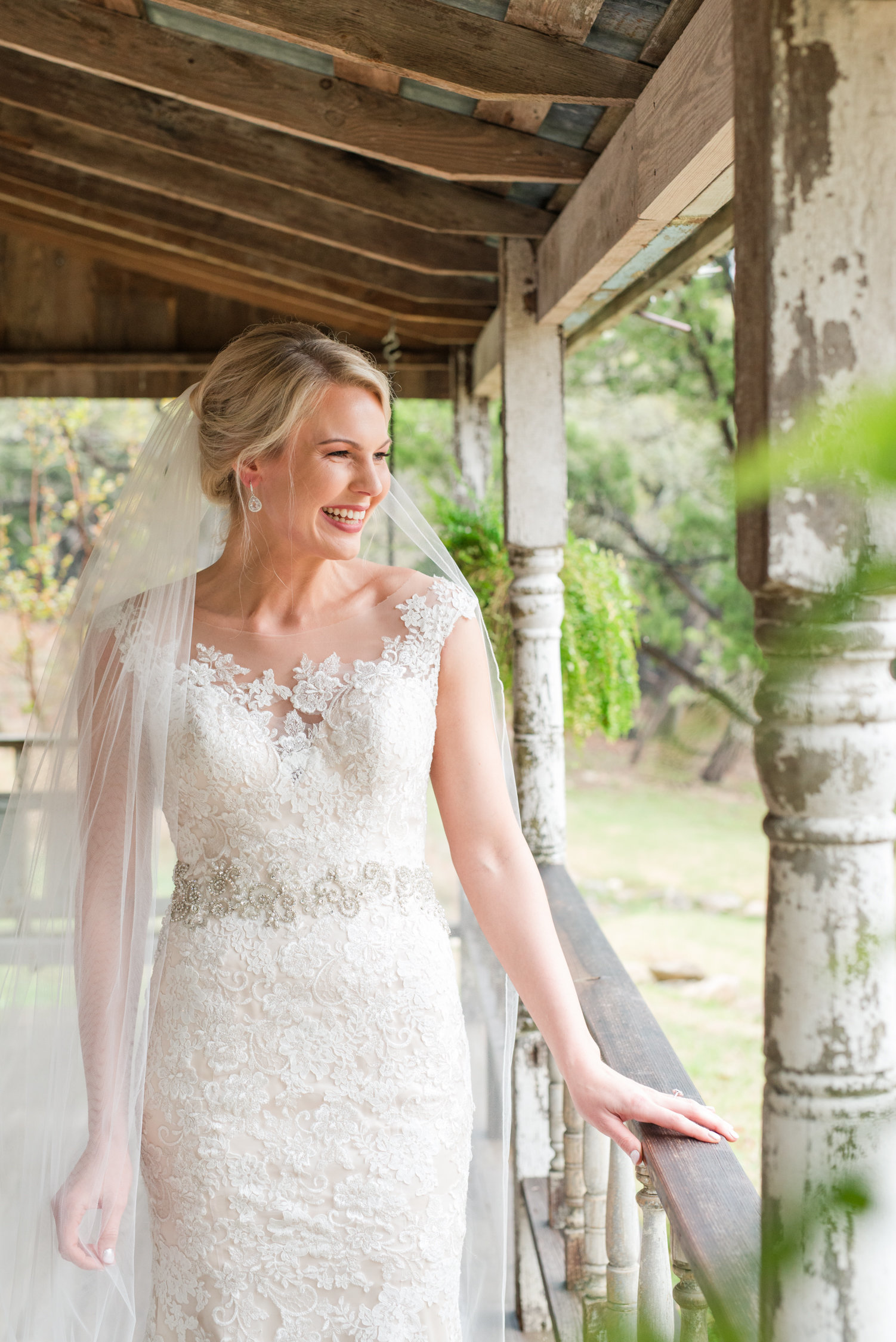 Bridal Portraits on front porch of Victorian Cottage at Rustic Ranch in Wimberley, Texas