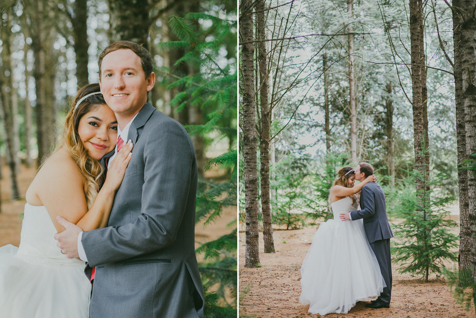 Romantic wedding photos of bride and groom in the woods in Salem, Oregon | Susie Moreno Photography