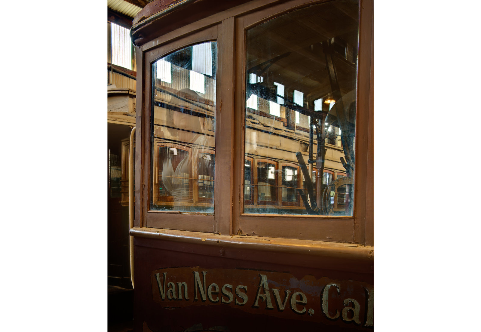 Van Ness Ave Trolley Car at Train and Trolley Museum in Perris California