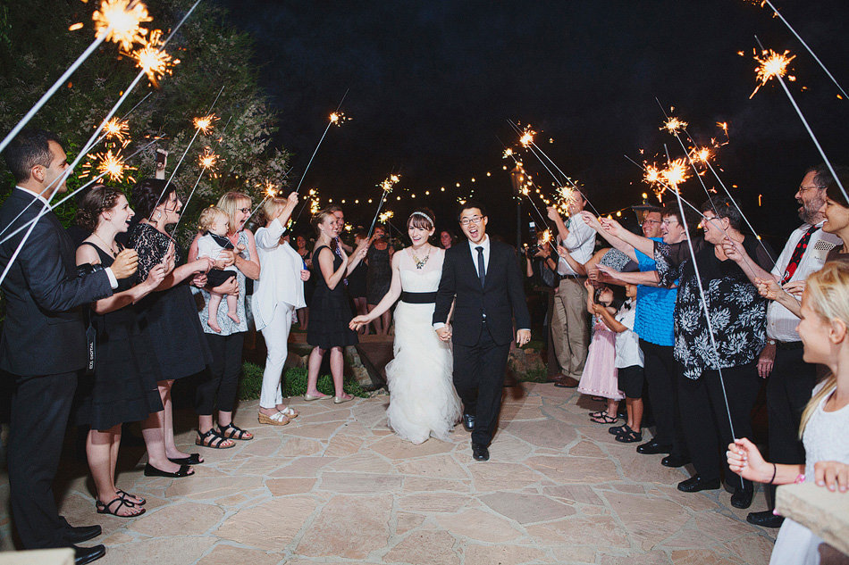 Sparkler exit at Serendipity Gardens Wedding