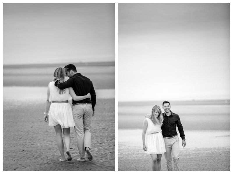 strand kust verloving shoot Emma en Wouter wandelen foto