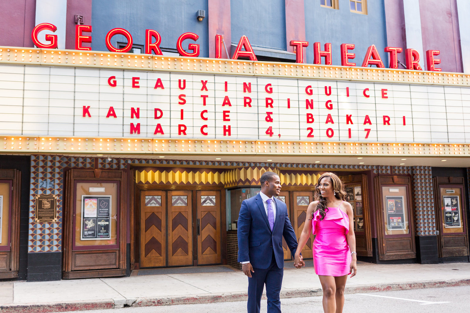 Georgia Theatre Athens engagement session Mecca Gamble Photography