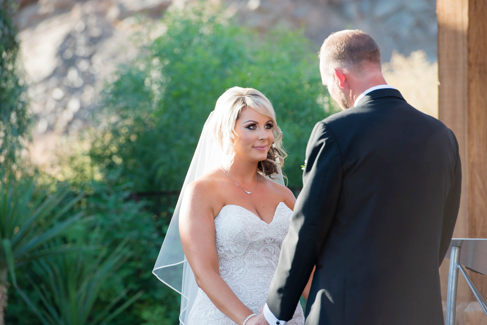 bride and groom during ceremony at From the Farm in Yuma AZ