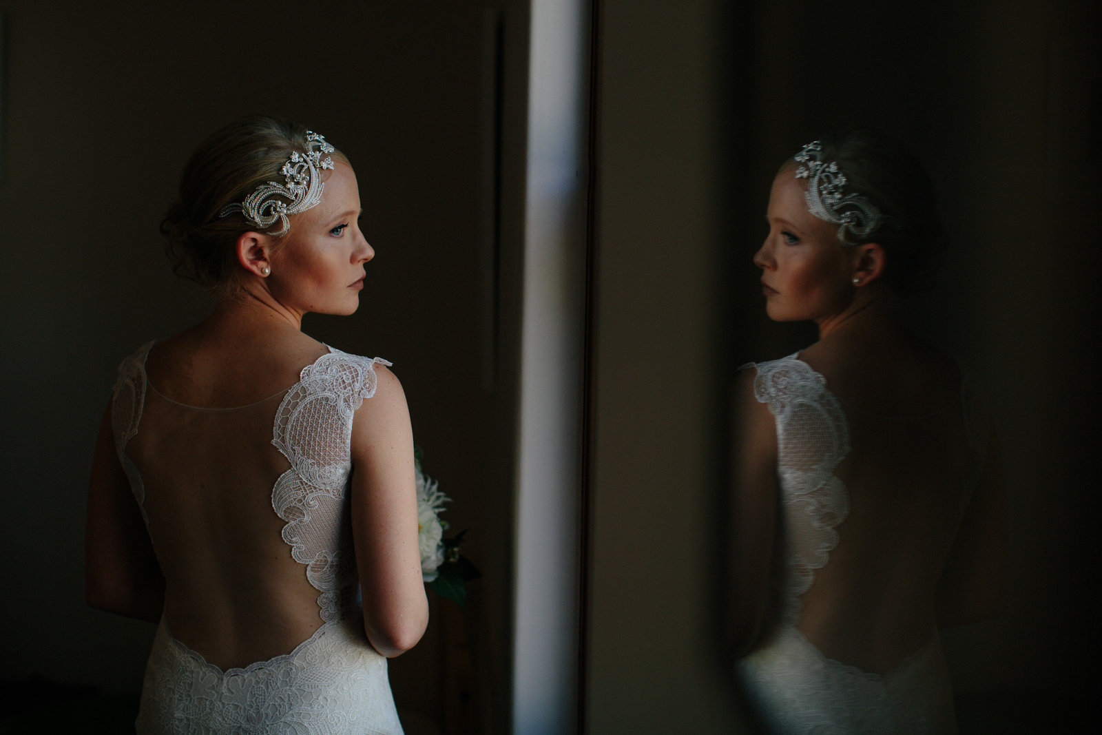 pensive bride before wedding