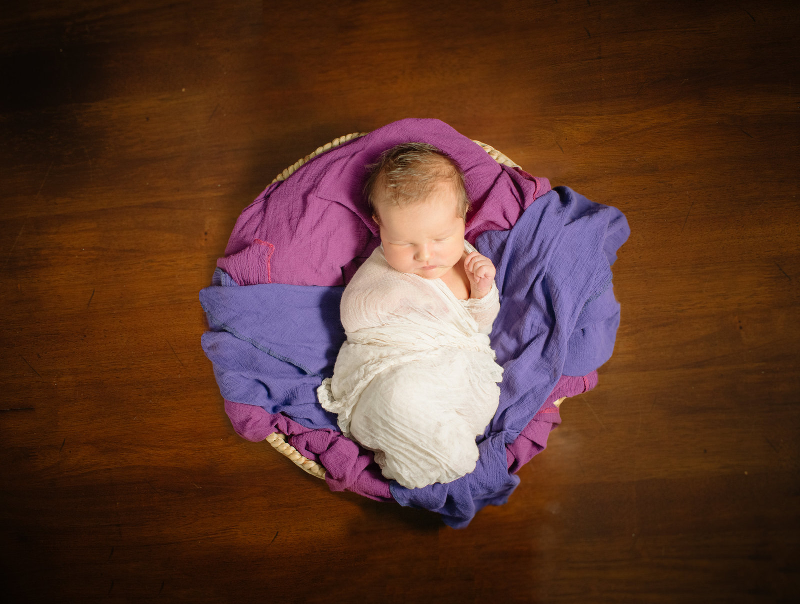 Newborn Photographer purple blanket
