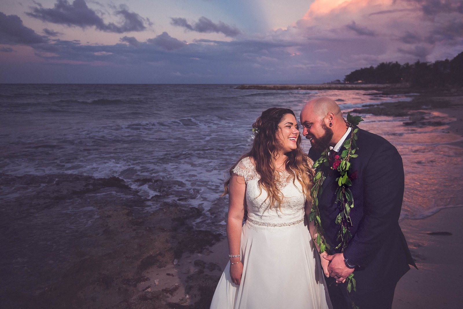 bride and groom at sunset in montego bay jamaica