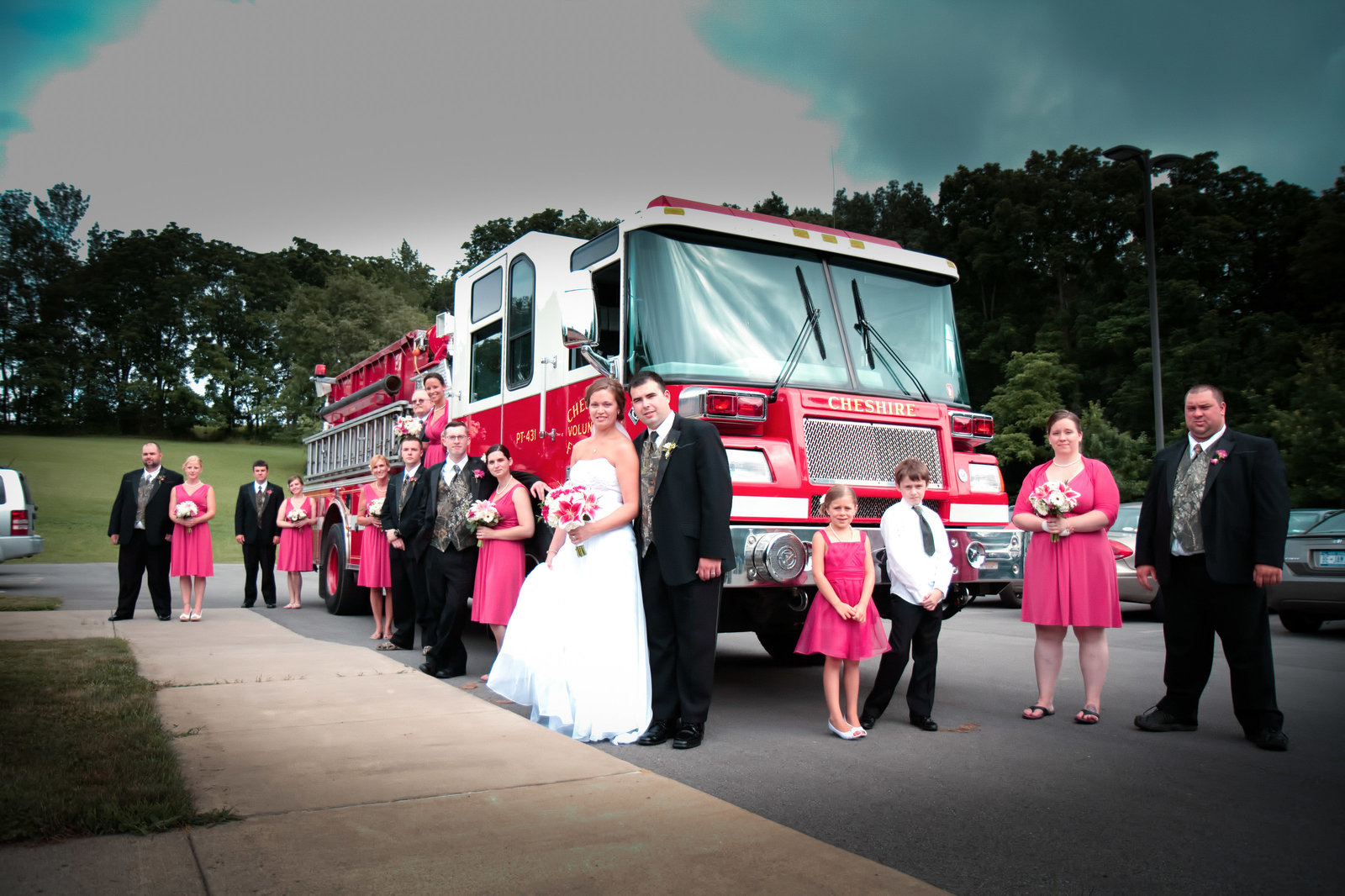 wedding photography wedding party firetruck