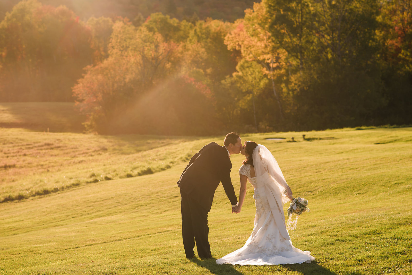 bride and groom at Sunset, Breadloaf wedding, fall wedding in Vermont