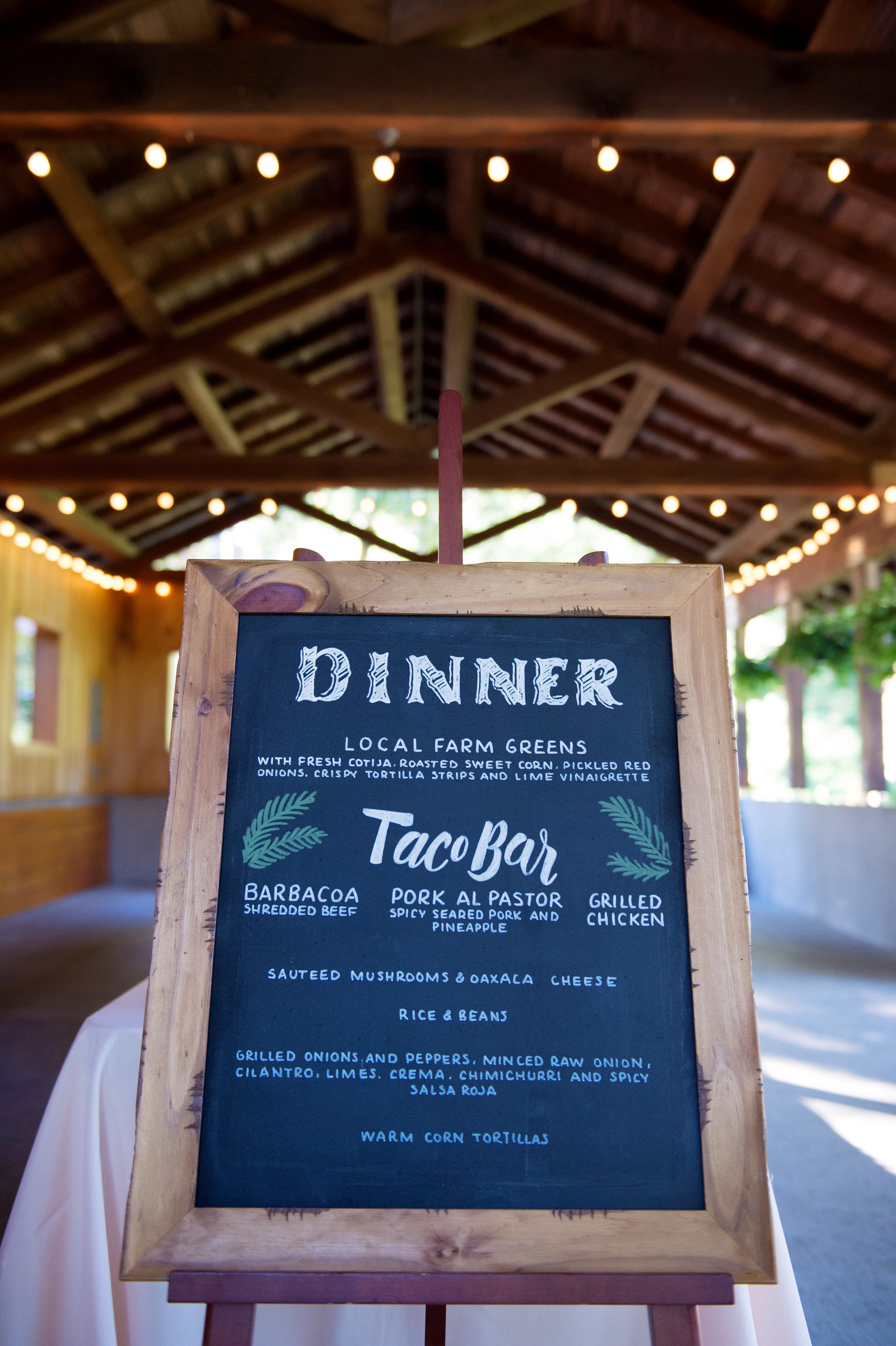 Taco bar dinner menu wedding sign