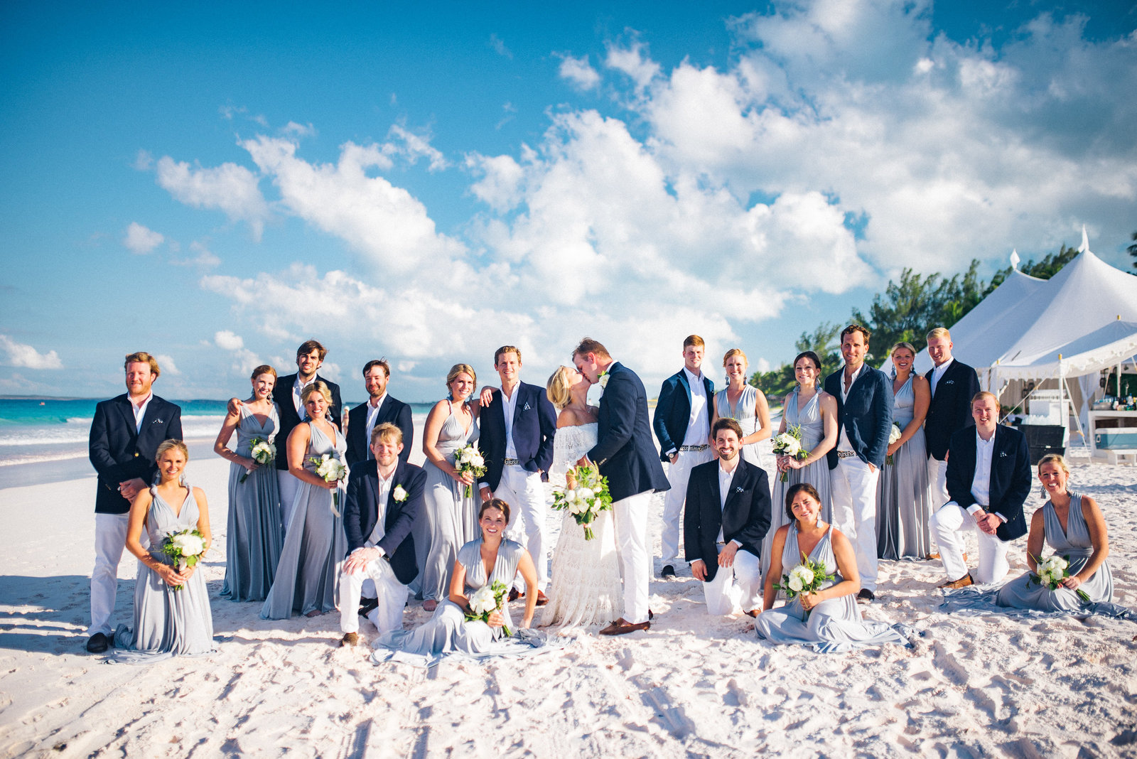 Large destination wedding on Pink Sands Beach Bahamas