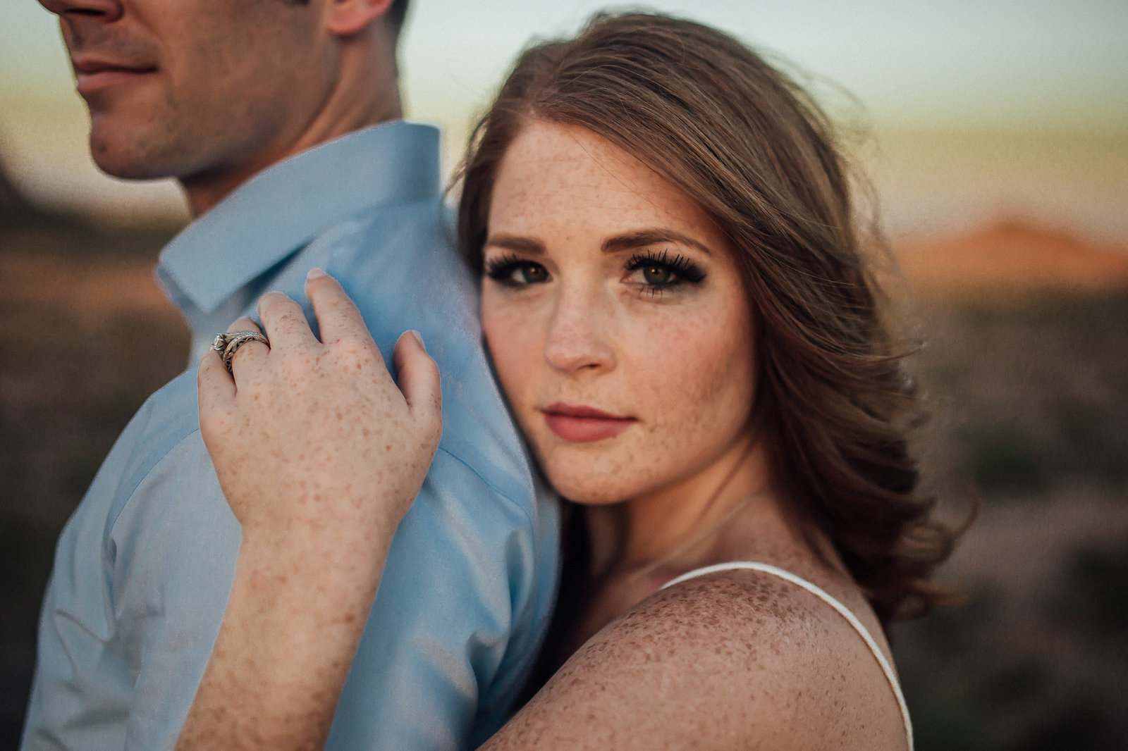 Engagement session during golden hour in Tempe, AZ