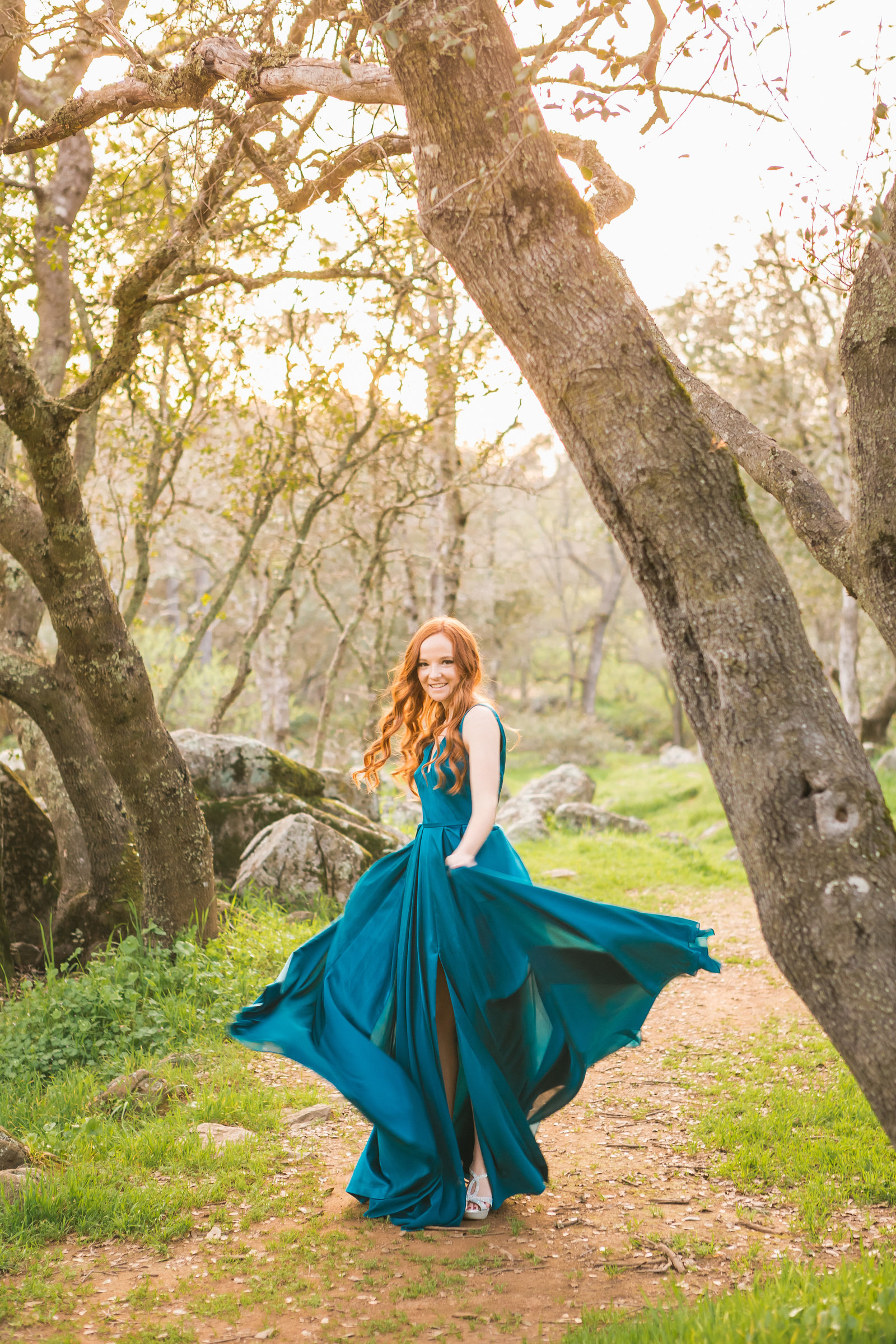 Del Oro High school Senior session girl in formal Auburn CA