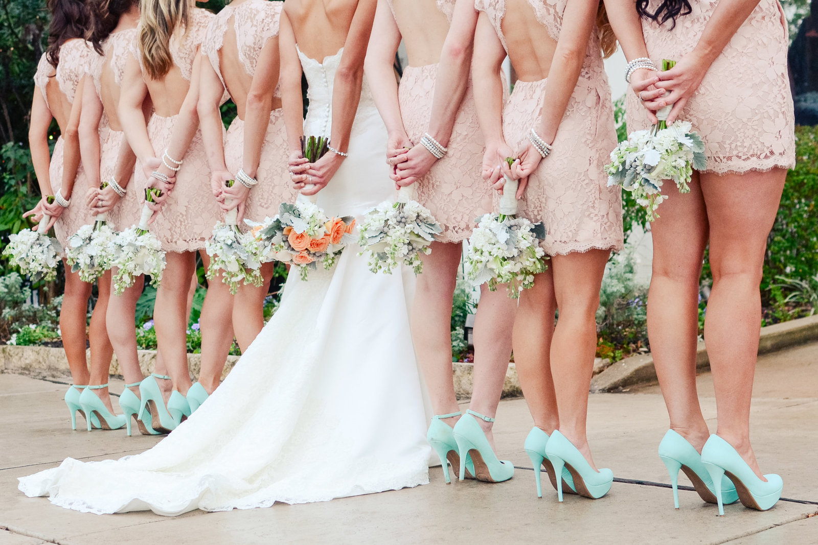 Shoe shot for bridesmaids at The Allan House in Austin, Texas