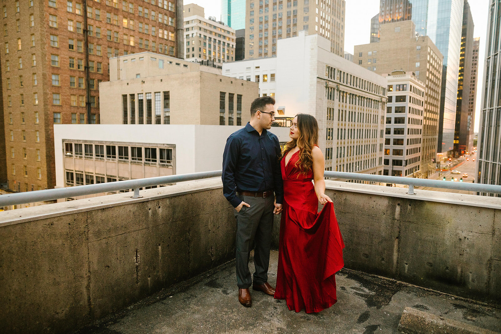 Kori+Tommy_Memorial Park and Downtown Houston Engagements_39