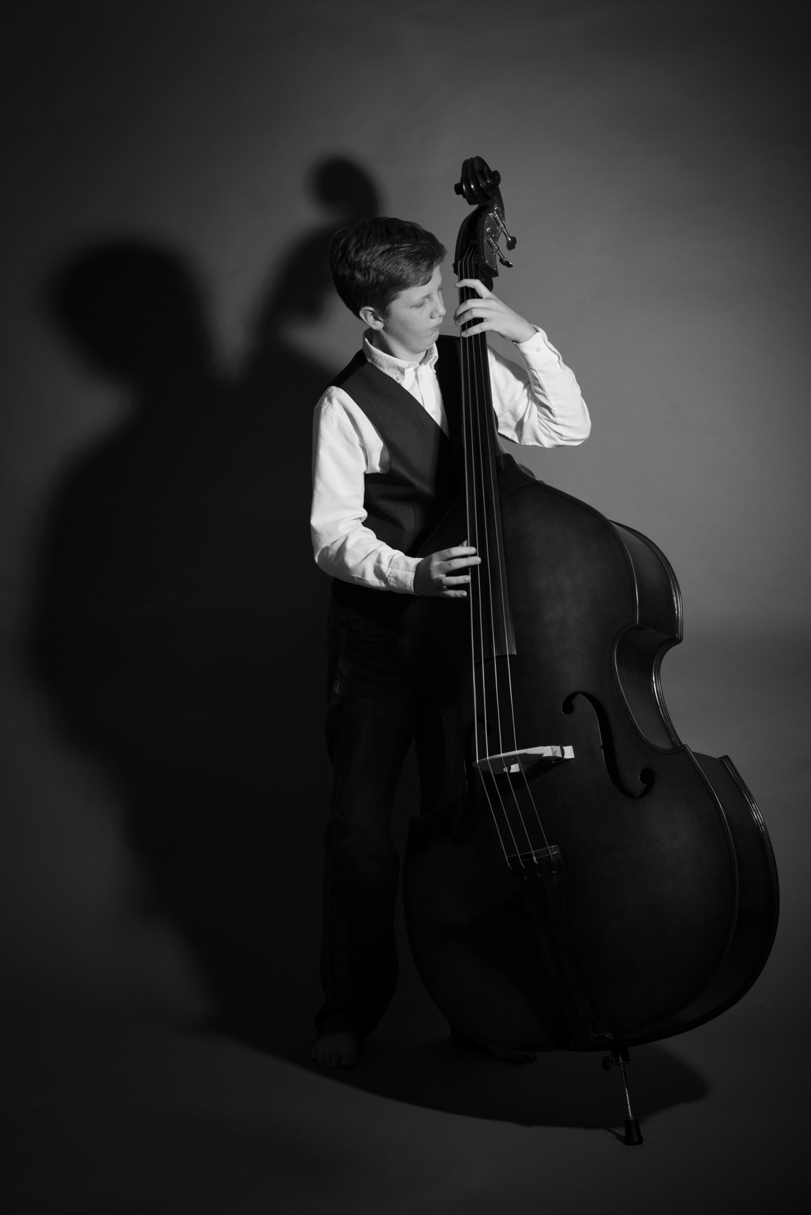 Black and whit photography, West Chester Photographer, Double Bassist, Tween photography