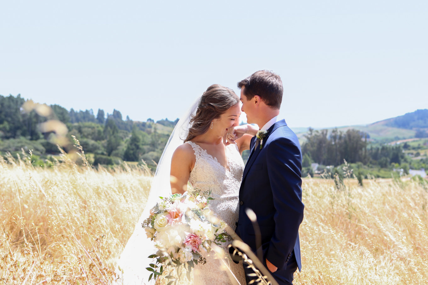 First look at wedding in Northern California, bride and groom in natural light