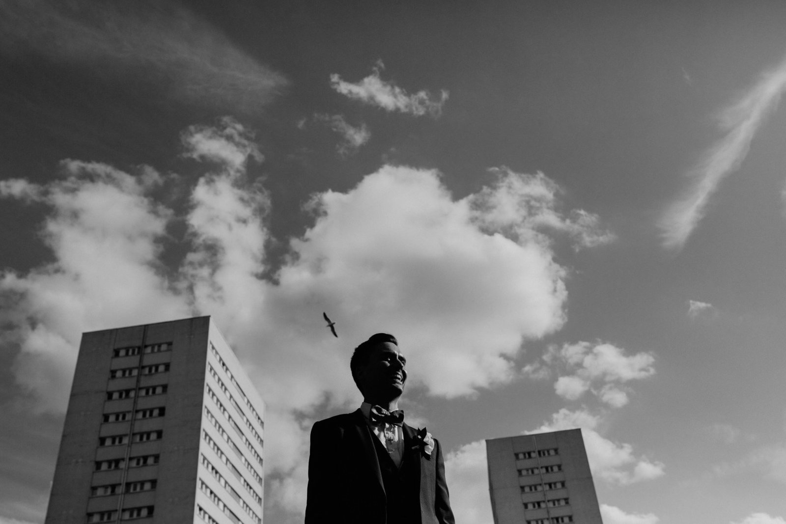 Cool groom. Urban city wedding photographer Birmingham