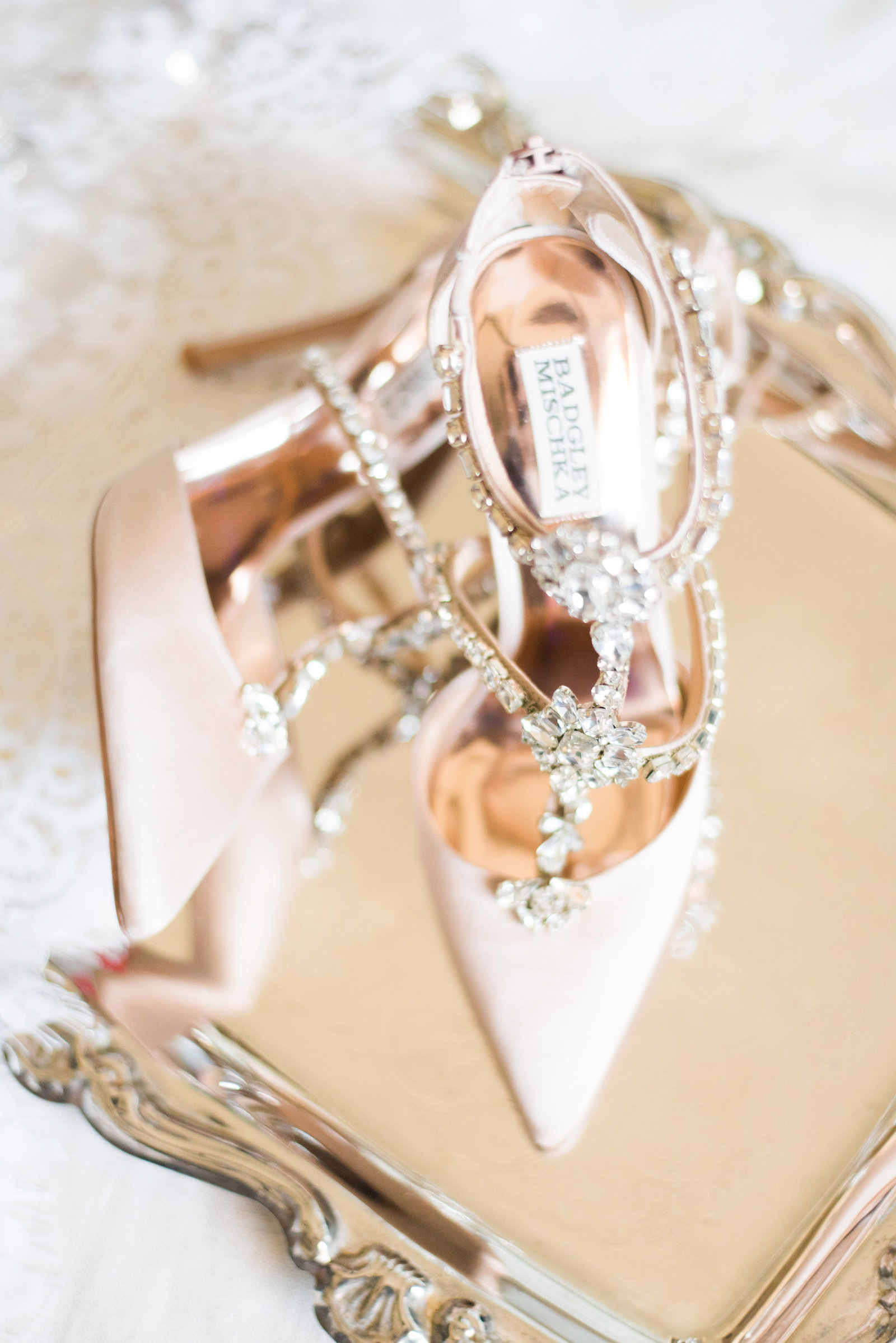 badgley mischka strappy blush pink bridal shoes