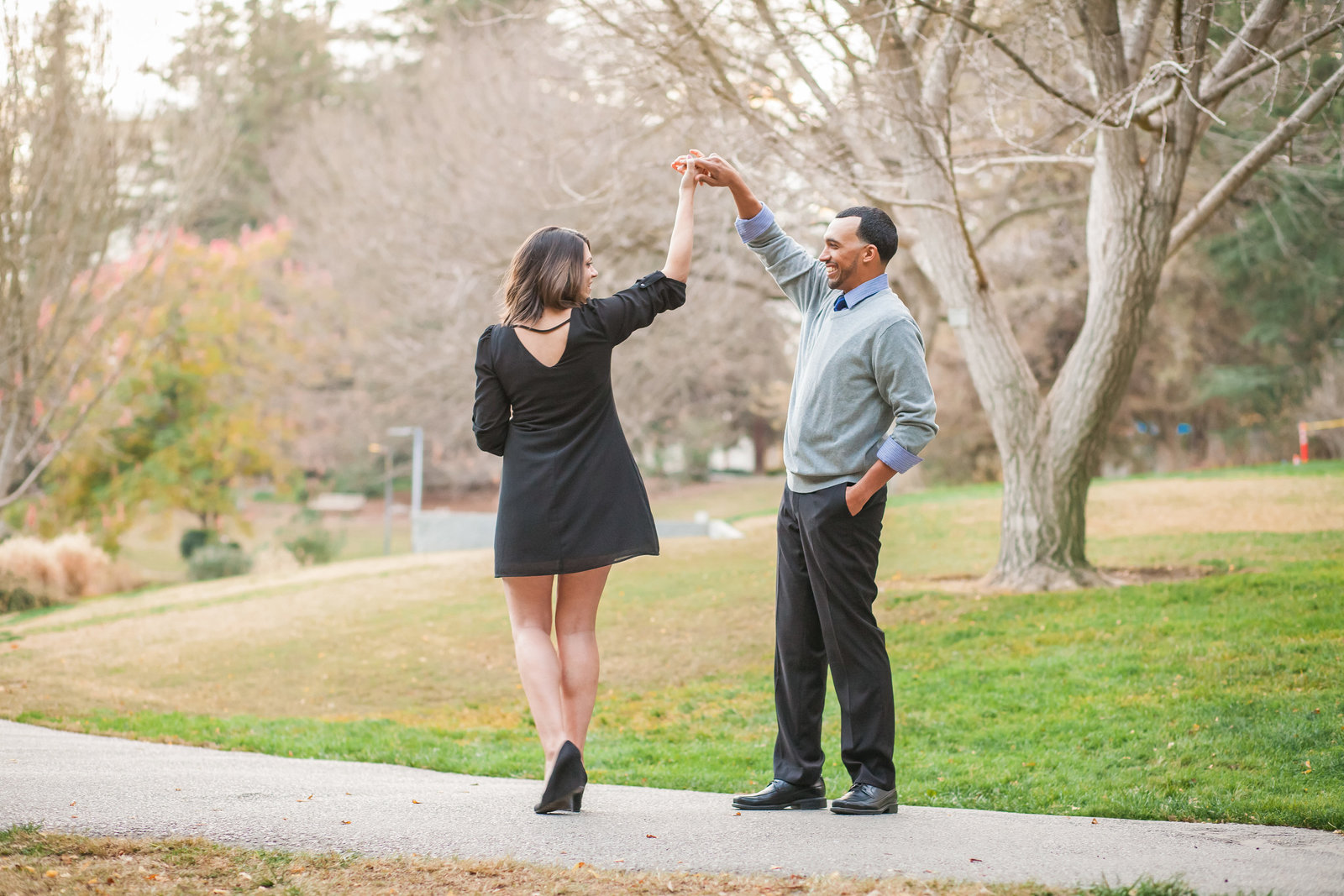 UC Davis Arboretum engagement couple dancing