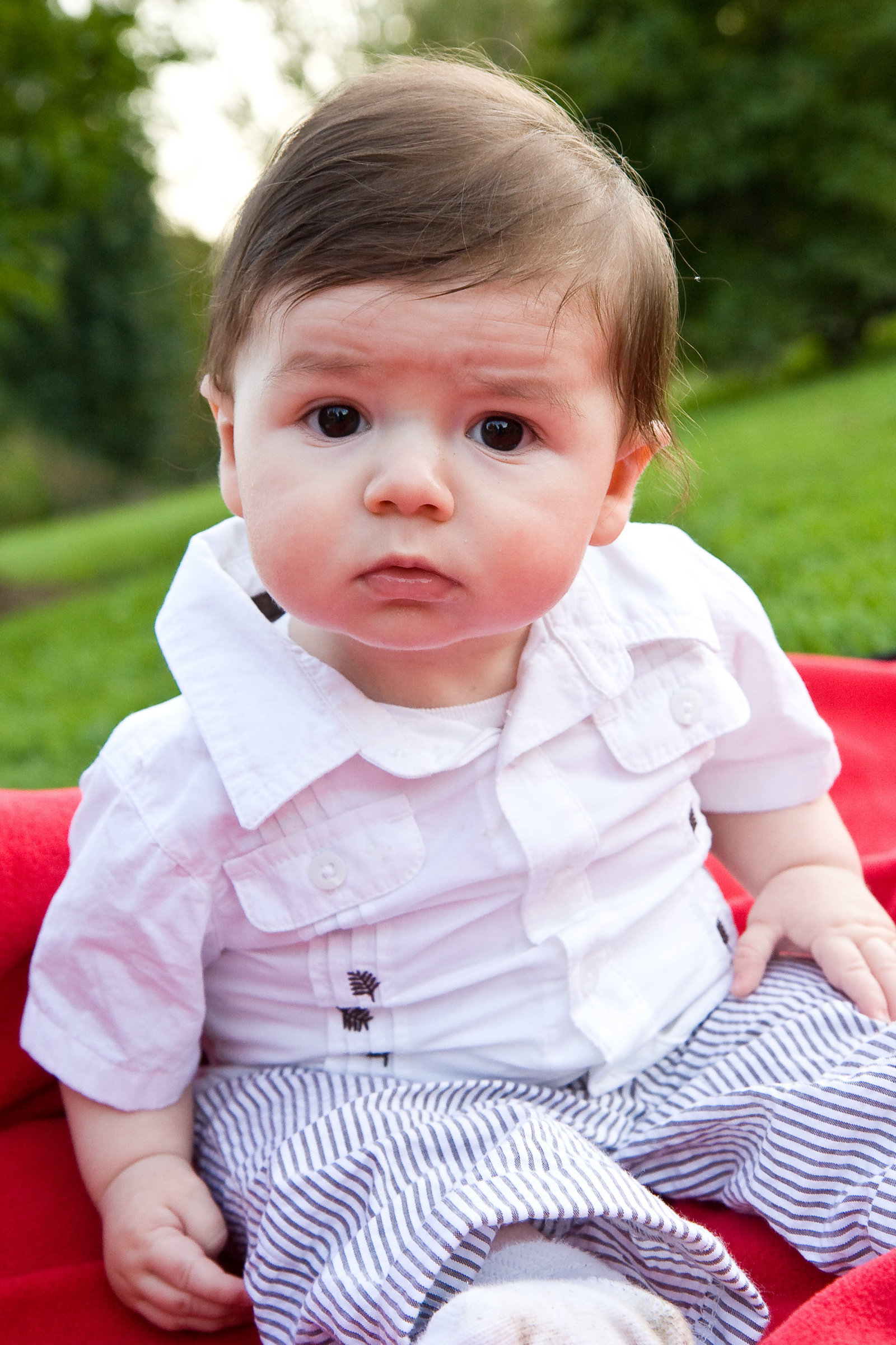 Baby portrait on red blanket in grass