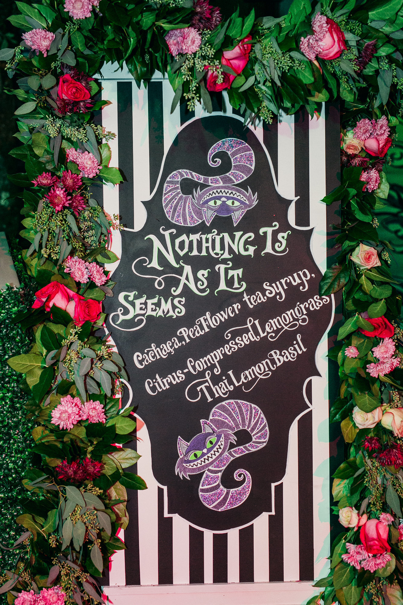 Chalkboard Palm Beach Party Planner Cheshire Cat Alice in Wonderland