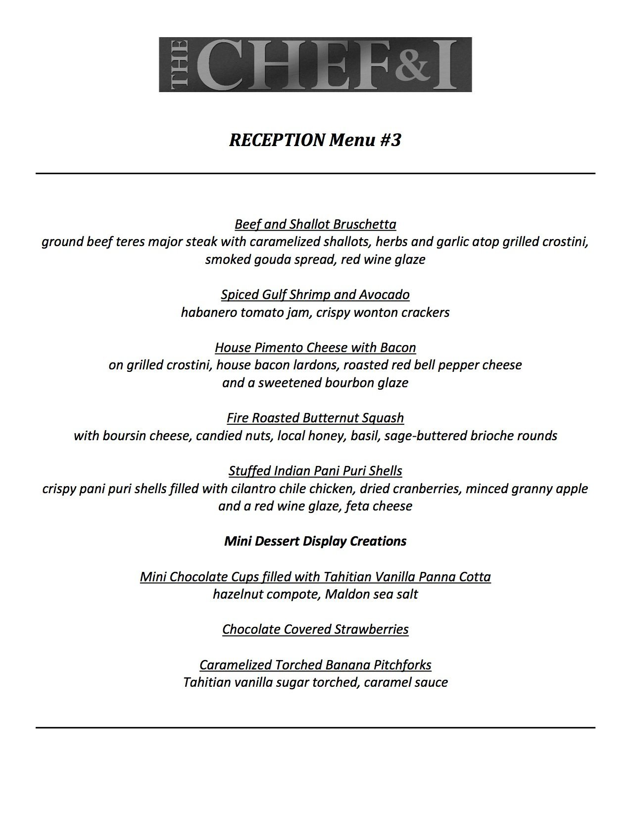 Reception Menu 3