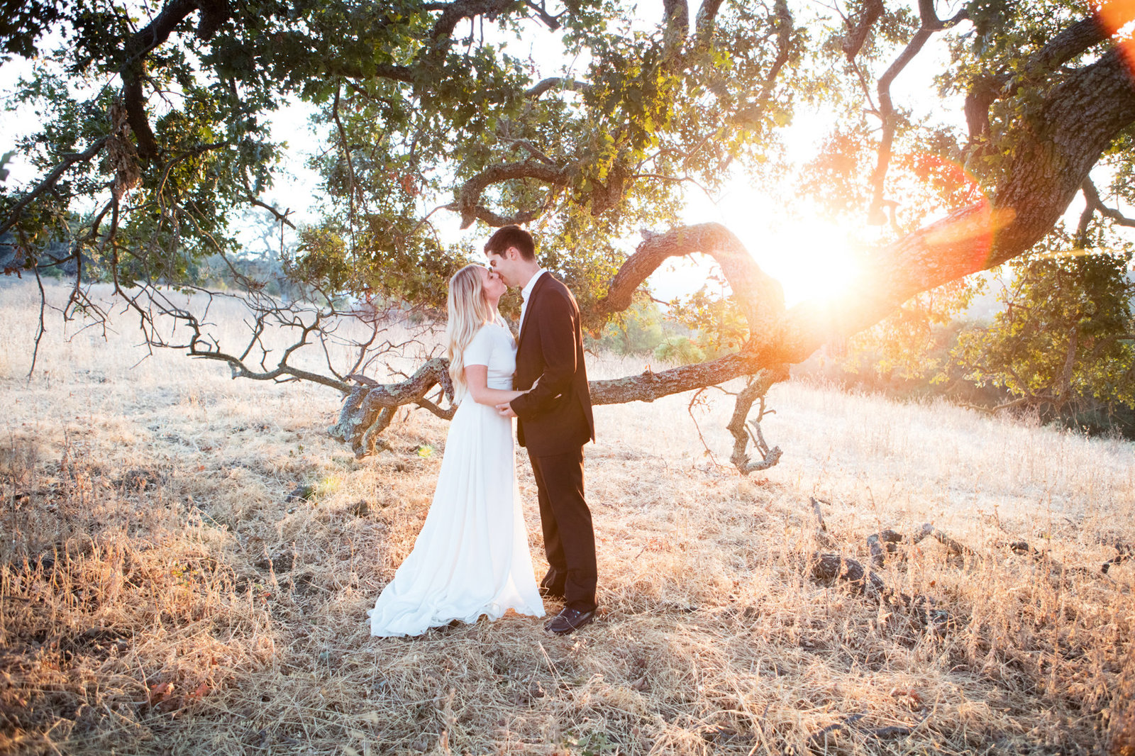 Bride and groom in beautiful backlit golden setting for engagement session