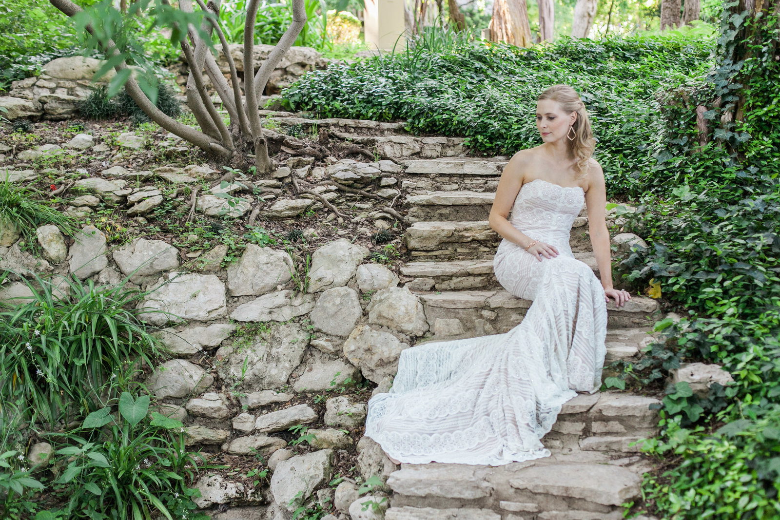 Austin Family Photographer, Tiffany Chapman, bride on garden stairs