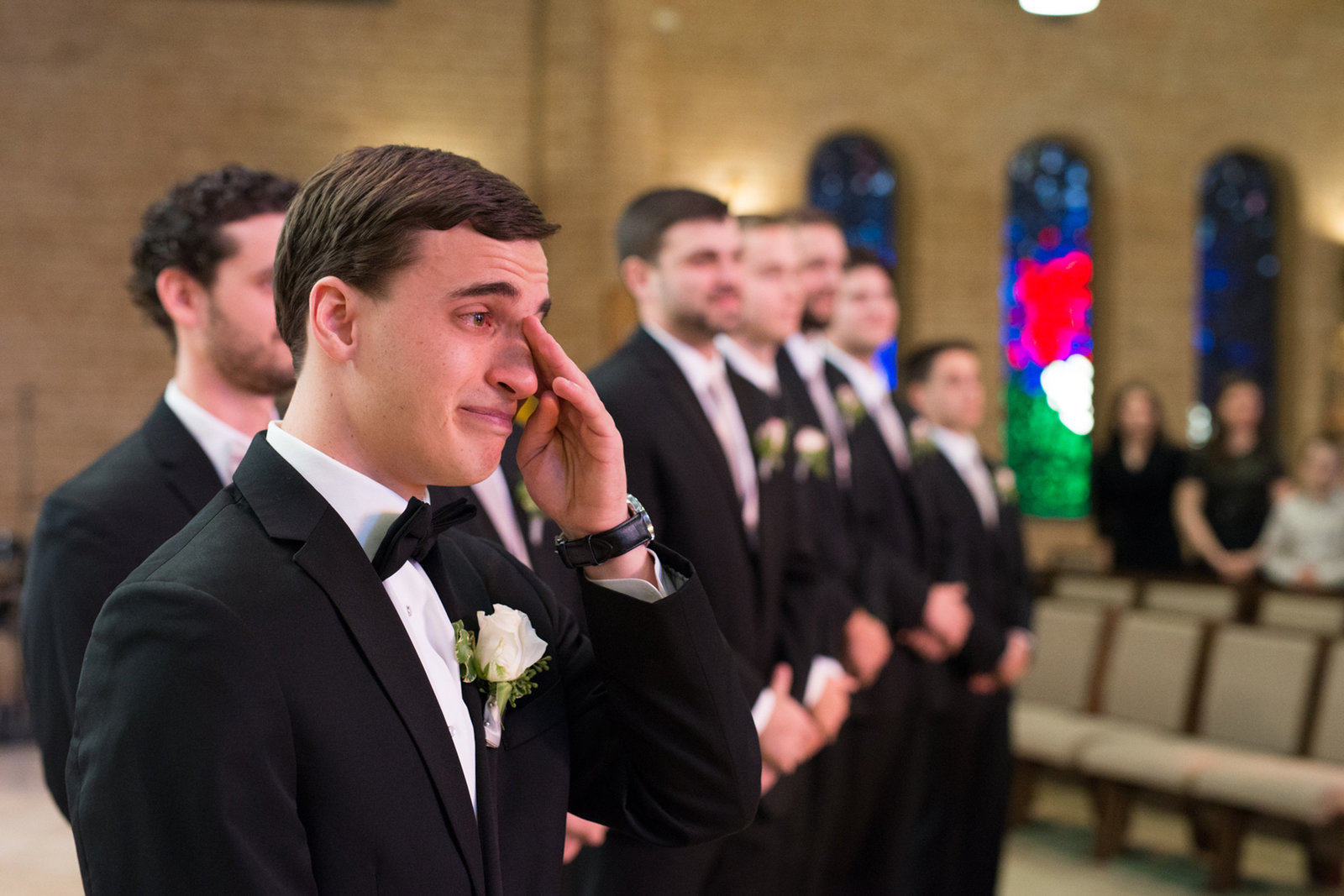 Groom tears up as he sees bride for the first time on their wedding day in Temple, Texas