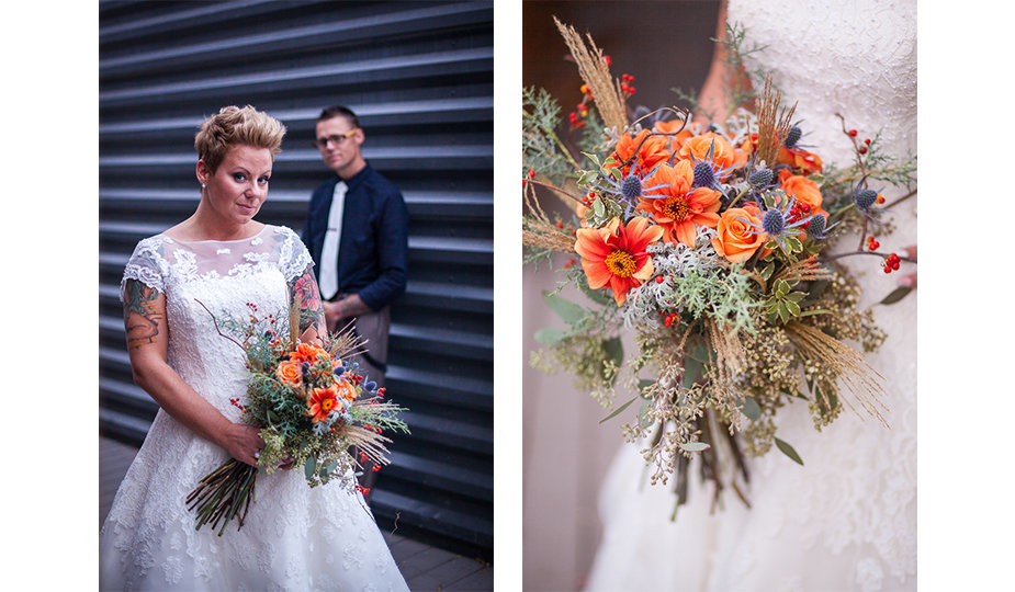 A hipster bride and groom from Boise, Idaho pose for a modern portrait near a steel metal wall, paired with a photograph of a bridal bouquet of orange and blue wild flowers, thistles, and sage.