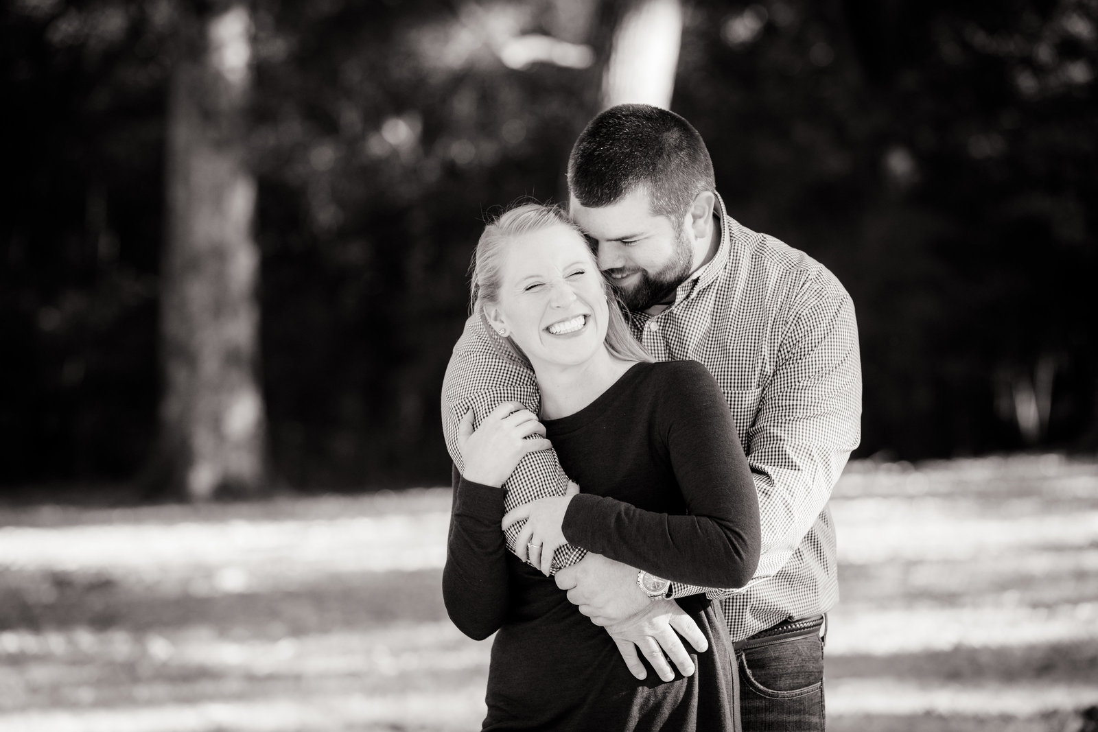 Lovely couple portrait in black and white