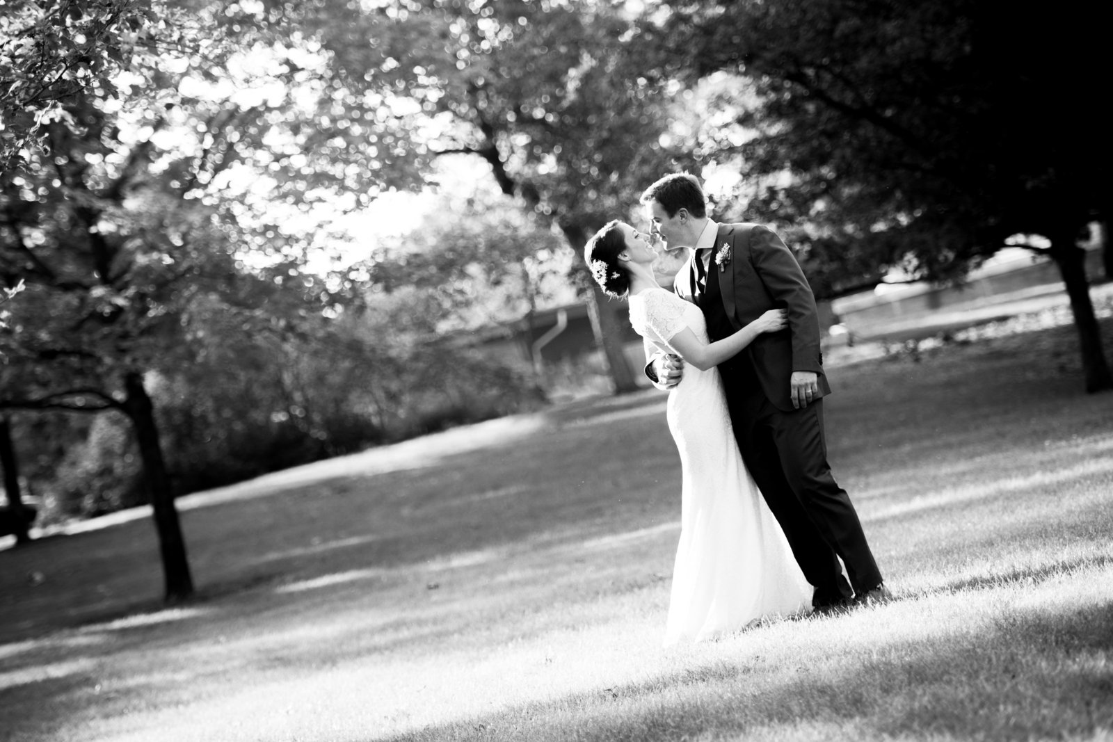Chicago bride and groom kiss just minutes after ceremony.