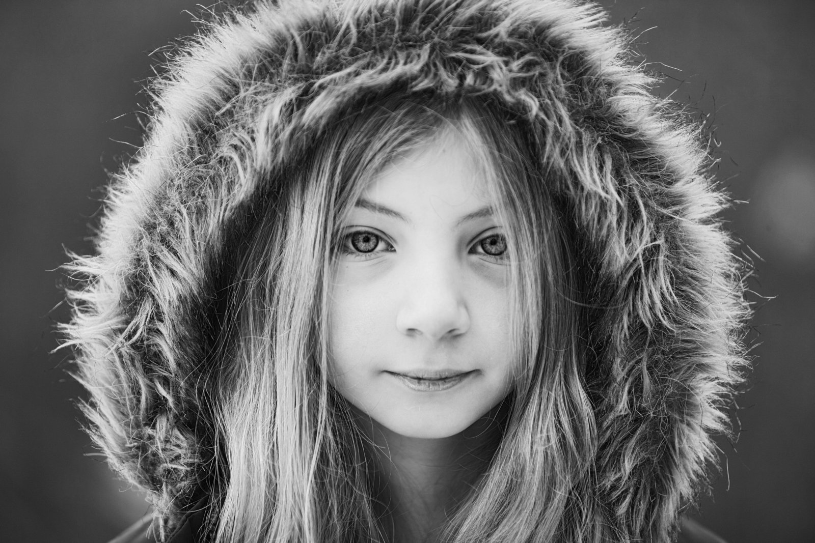 Black and white close up child portrait by Hudson Valley children's and family photographer
