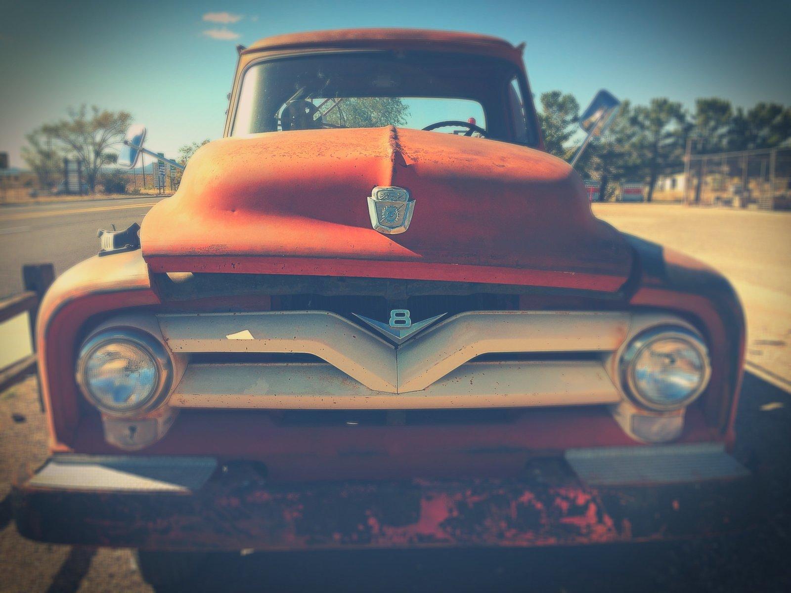 Old Orange Vintage truck
