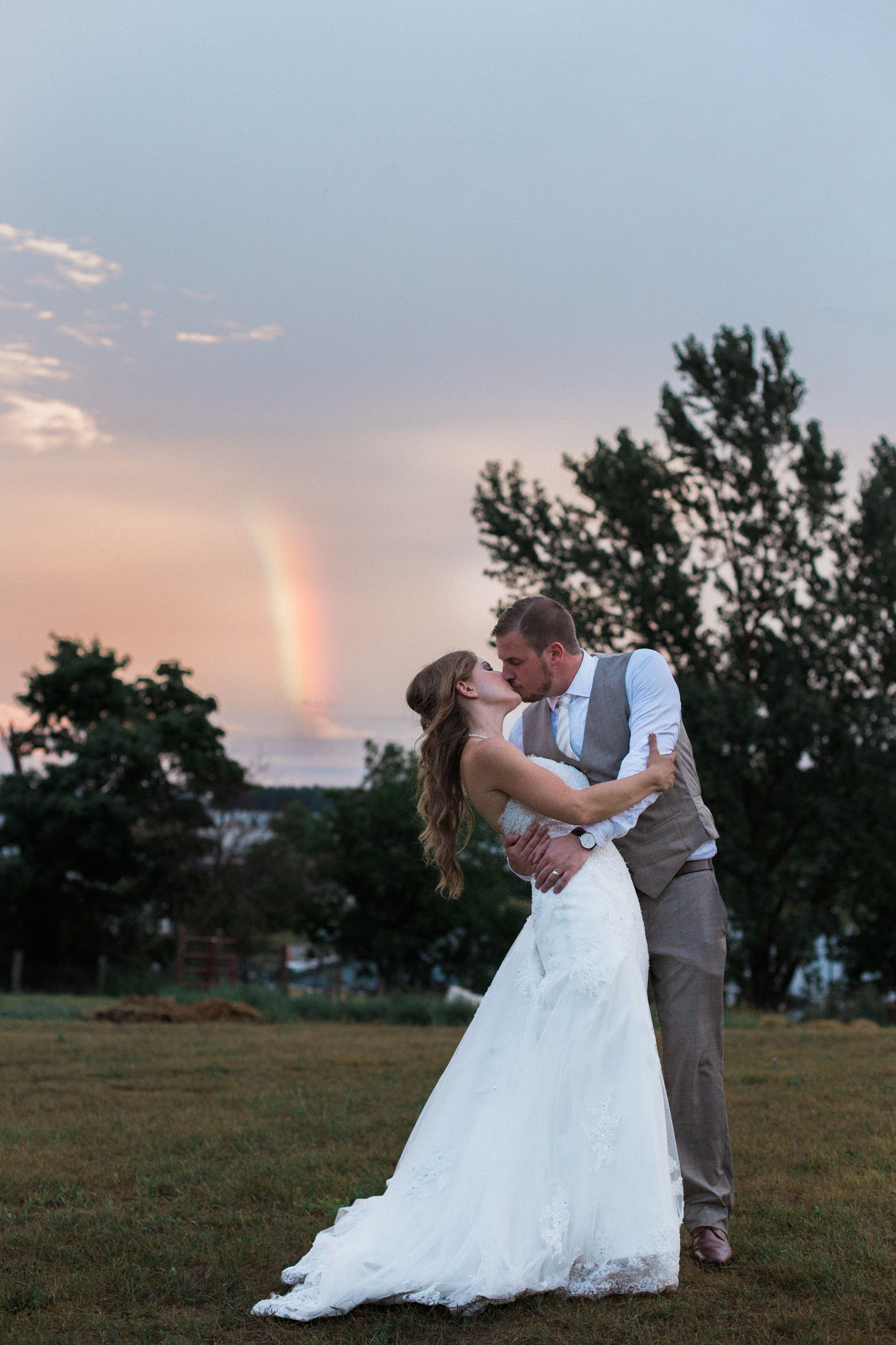 Destination Wedding Photography Jess Collins Photography Steckle Farm Wedding in Kitchener Sunset rainbow bride and groom photo