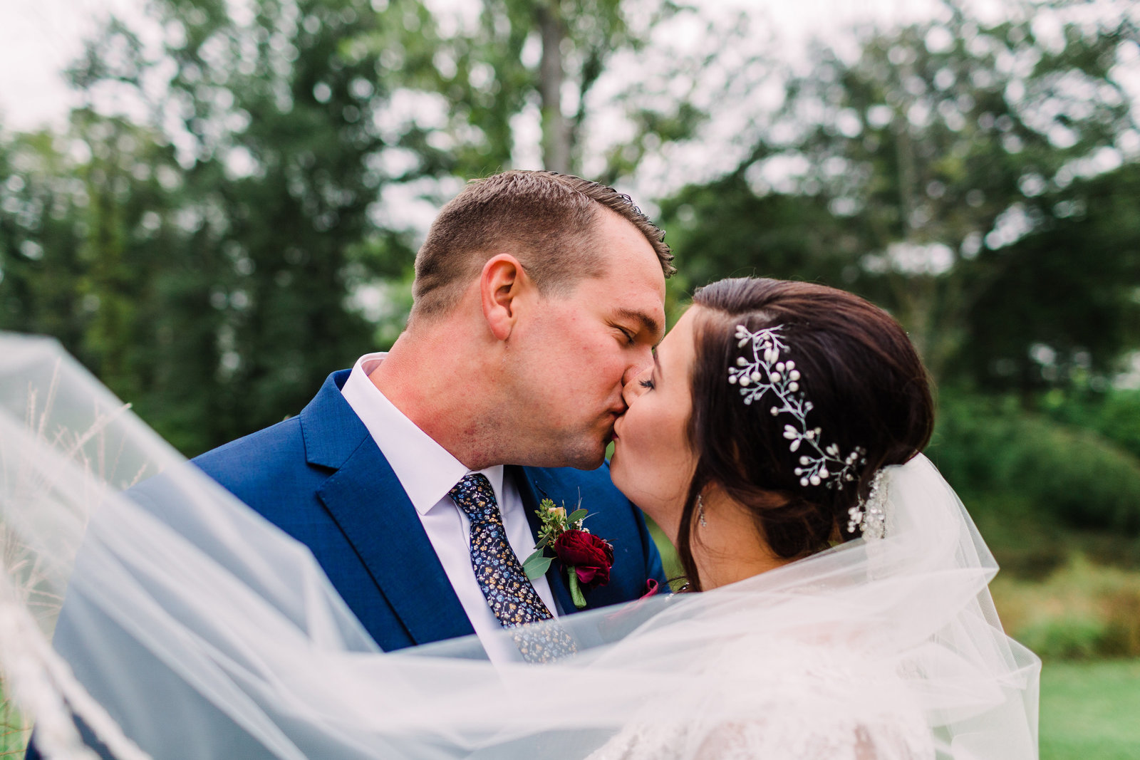 Bride and Groom portrait from Rustic yet elegant wedding at Three Barn Farm with pops of burgundy and navy by Jackelynn Noel Photography