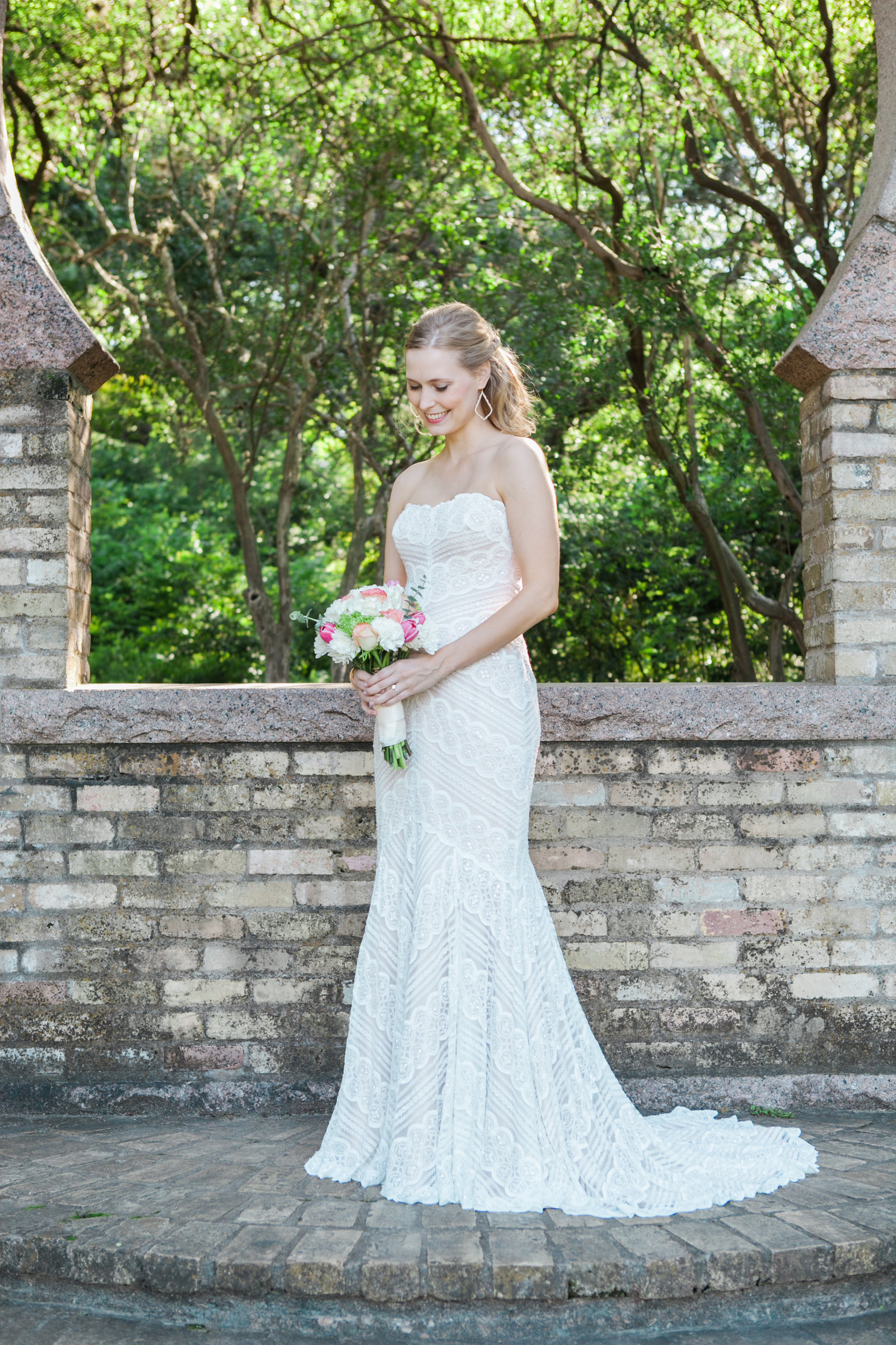 Austin Family Photographer, Tiffany Chapman, bride looking down at flowers