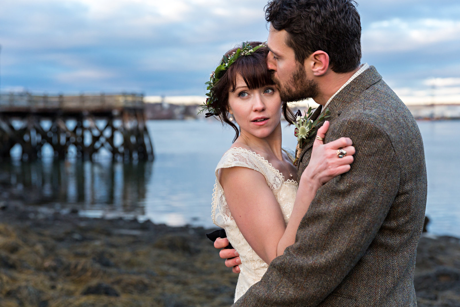 Portsmouth New Hampshire Elopement Photographers Elope NH Wedding Couple Flower Crown Ocean Dock Seaweed Photo