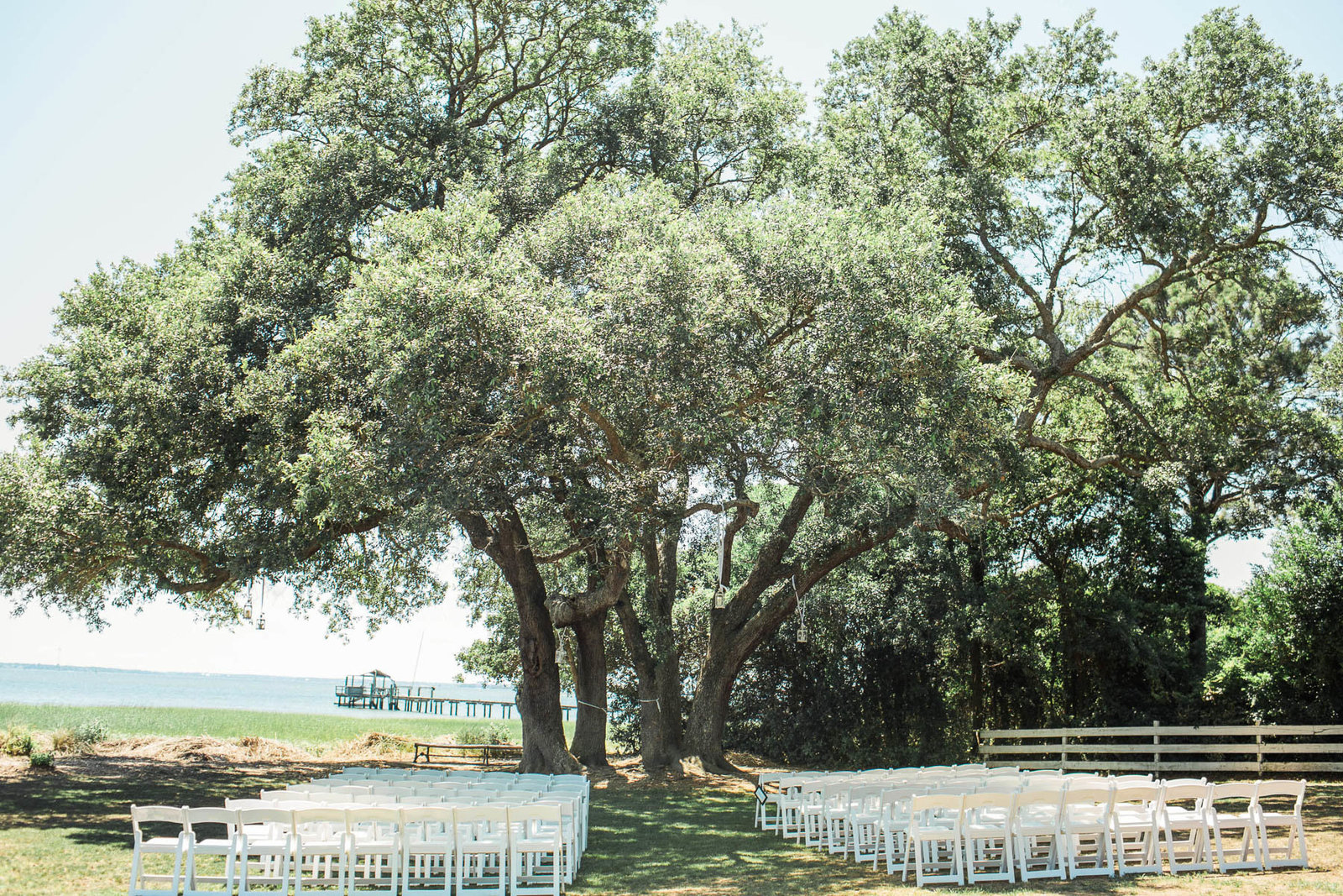 Ceremony is set under an oak tree, Alhambra Hall, Mt Pleasant, South Carolina