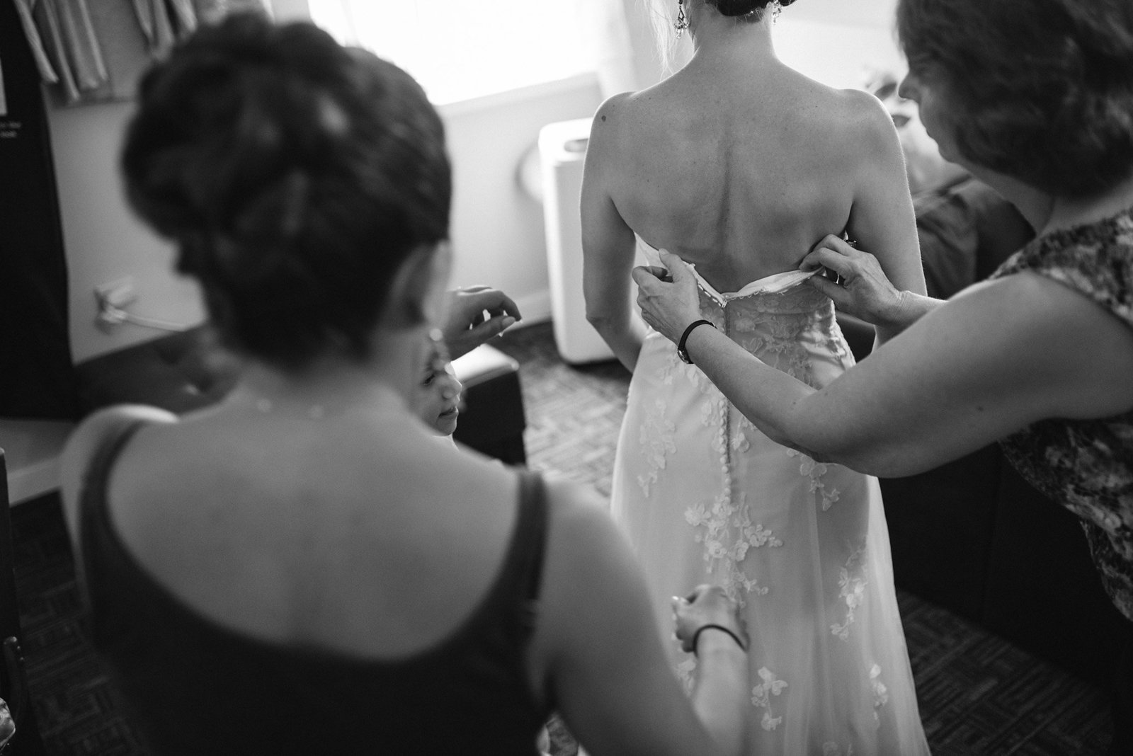black and white bride getting ready, documentary style wedding photography, Vermont wedding photographer
